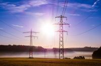 Power lines, sun